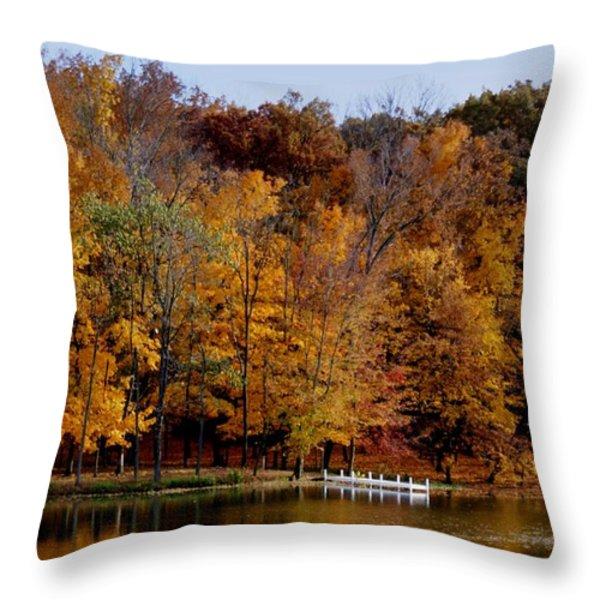 Autumn Trees Throw Pillow by Sandy Keeton