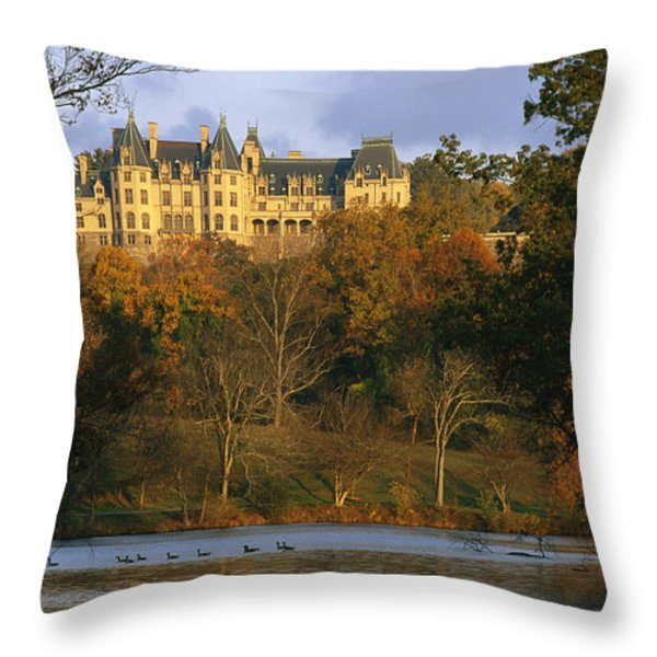 Autumn View Of The Biltmore Throw Pillow by Melissa Farlow