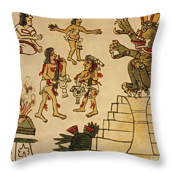 Aztec Priests Appease Mictlantecuhtli Throw Pillow by Photo Researchers