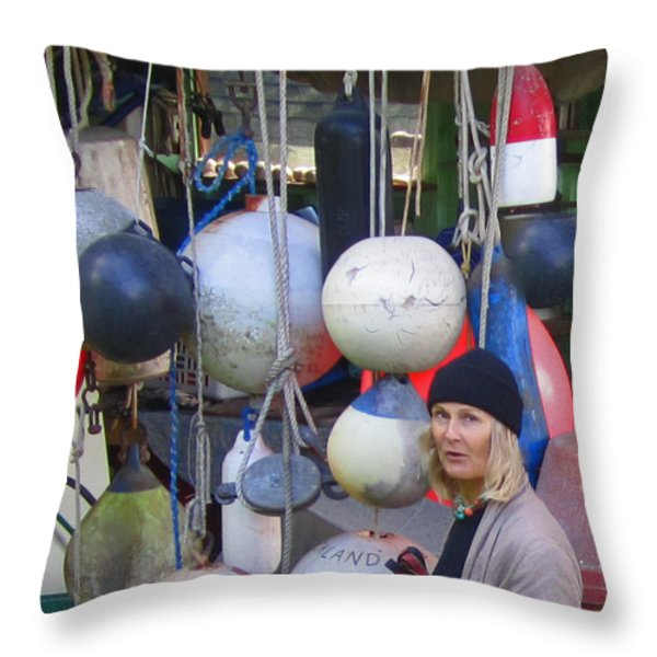 Babe With The Buoys Throw Pillow by Kym Backland