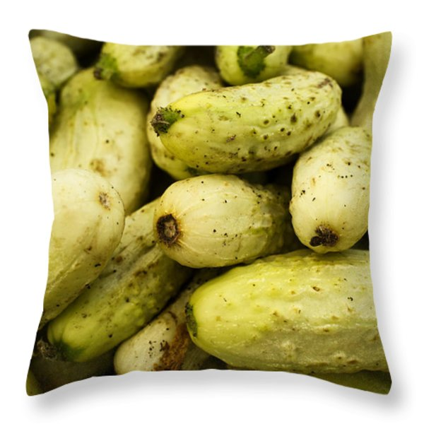 Baby Cucumbers Throw Pillow by Tanya Harrison