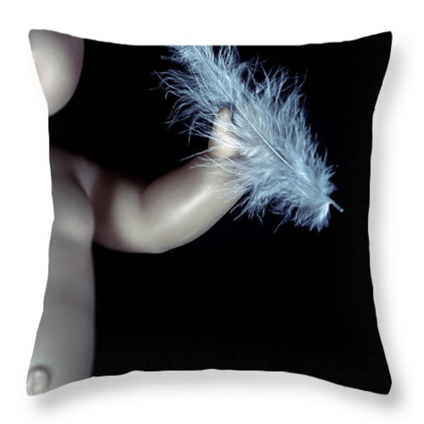 Baby Doll With Feather Throw Pillow by Joana Kruse