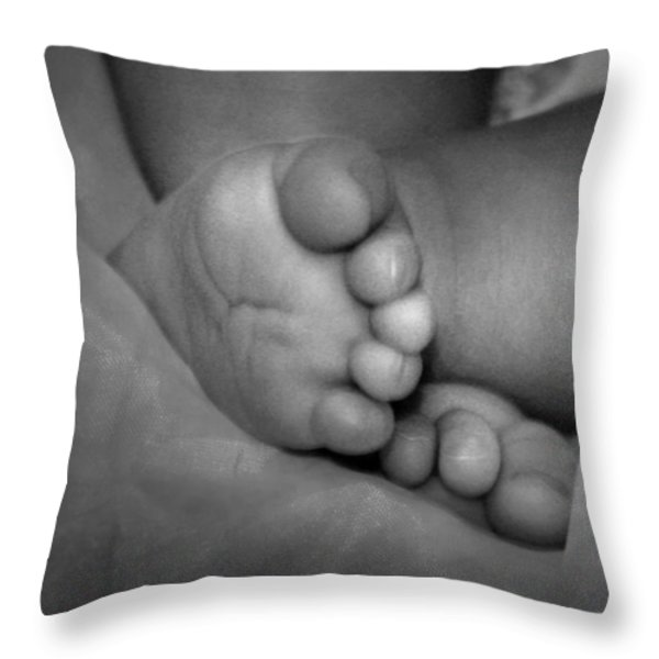 Baby feet Throw Pillow by Kelly Hazel