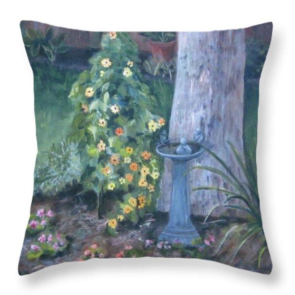 backyard Throw Pillow by Paula Pagliughi