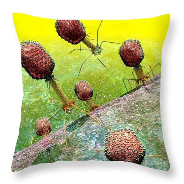 Bacteriophage T4 virus group 2 Throw Pillow by Russell Kightley