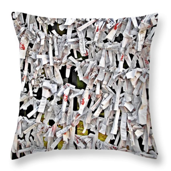 Bad-luck omikuji in Asakusa Tokyo Japan Throw Pillow by Christine Till