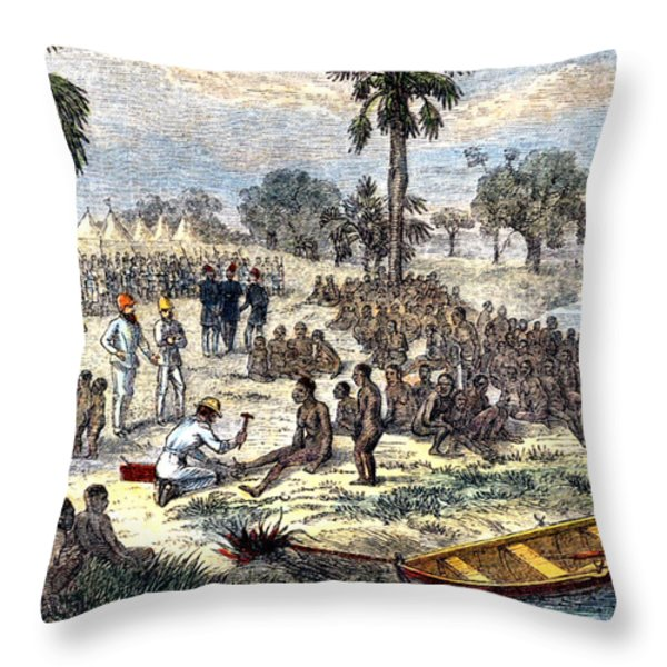 Baker Liberating Slaves In Africa, 1869 Throw Pillow by Photo Researchers
