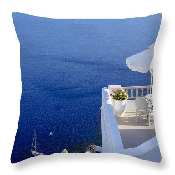 balcony over the sea Throw Pillow by Joana Kruse