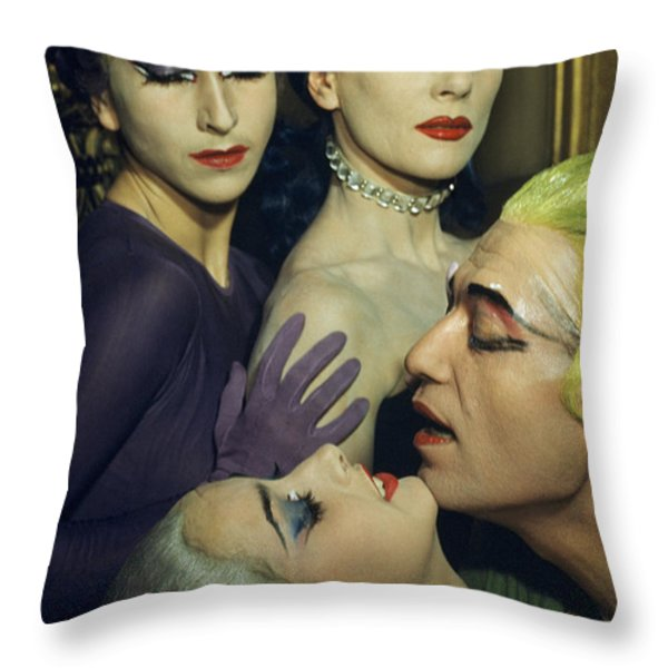 Ballet Dancers Appear In A Love Scene Throw Pillow by Justin Locke
