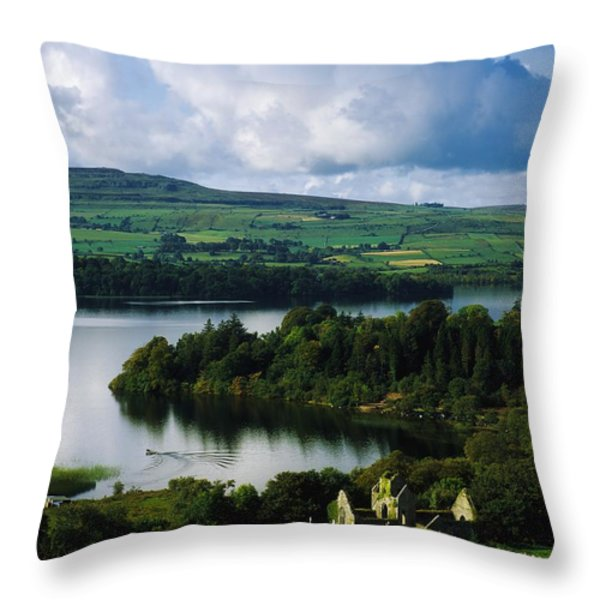 Ballindoon Abbey, Lough Arrow, Co Throw Pillow by The Irish Image Collection