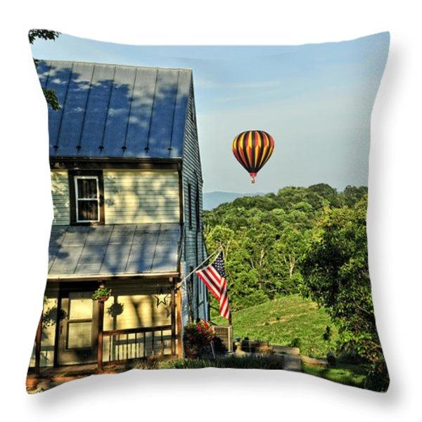 Balloon Country  Throw Pillow by Lara Ellis