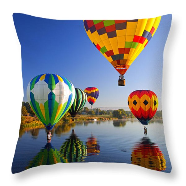 Balloon Reflections Throw Pillow by Mike  Dawson
