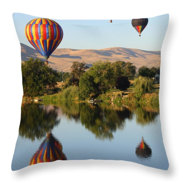 Balloons over Horse Heaven Throw Pillow by Carol Groenen