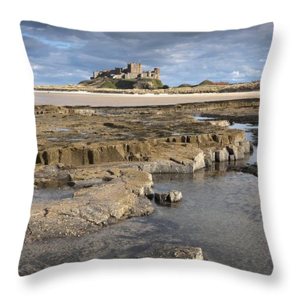 Bamburgh, Northumberland, England Throw Pillow by John Short
