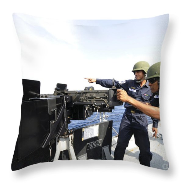 Bangladesh Navy Sailors Fire Throw Pillow by Stocktrek Images