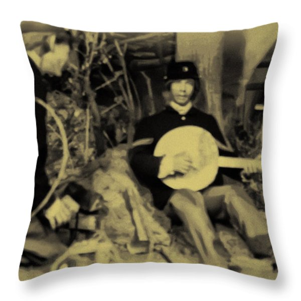 Banjo Playing Union Soldier Throw Pillow by Bill Cannon