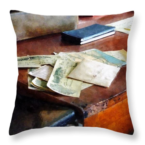 Bank Checks Dated 1923 Throw Pillow by Susan Savad