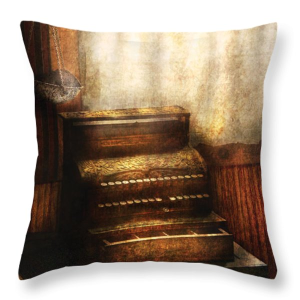 Banker - An Old Cash Register Throw Pillow by Mike Savad