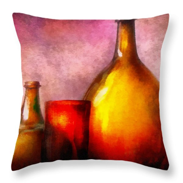 Bar - Bottles - A still life of bottles Throw Pillow by Mike Savad