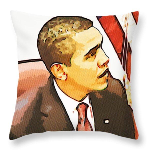 Barack Obama Throw Pillow by Susan Leggett