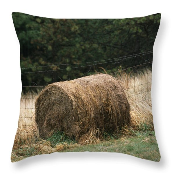 Barbed Wire Fence And Hay Roll Throw Pillow by Raymond Gehman