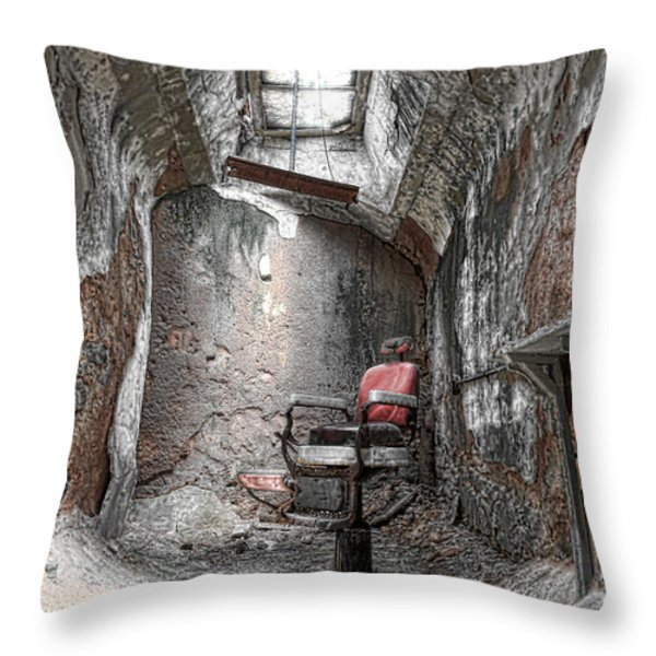 Barber - Chair - Eastern State Penitentiary Throw Pillow by Paul Ward
