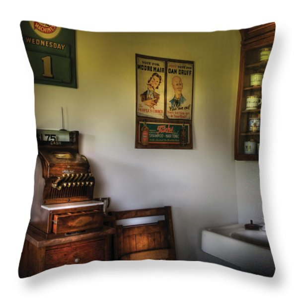 Barber - The Cash Register  Throw Pillow by Mike Savad