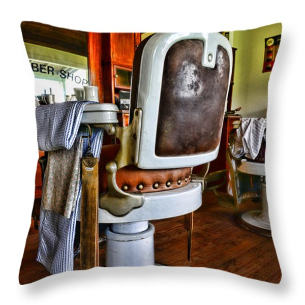 Barber - Barber Chair Throw Pillow by Paul Ward