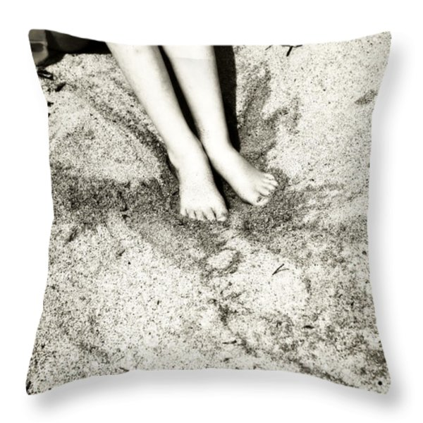 barefoot in the sand Throw Pillow by Joana Kruse