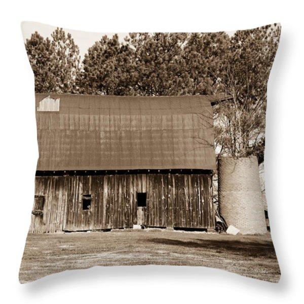Barn and Silo 1 Throw Pillow by Douglas Barnett