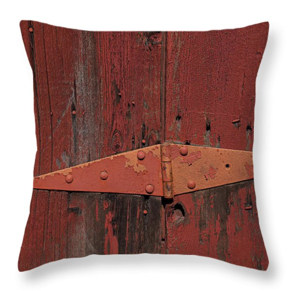 Barn hinge Throw Pillow by Garry Gay