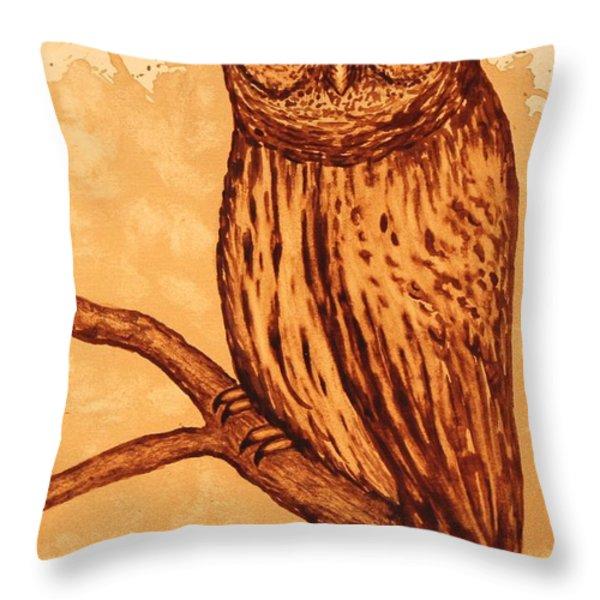 Barred Owl coffee painting Throw Pillow by Georgeta  Blanaru