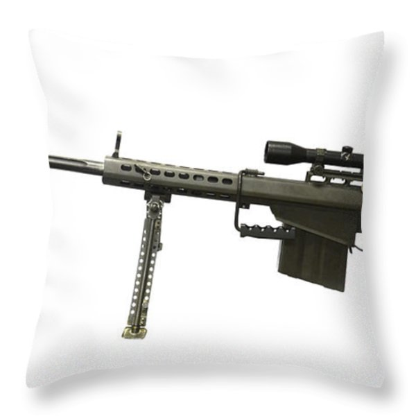 Barrett L82a1 Anti-materiel Rifle Throw Pillow by Andrew Chittock