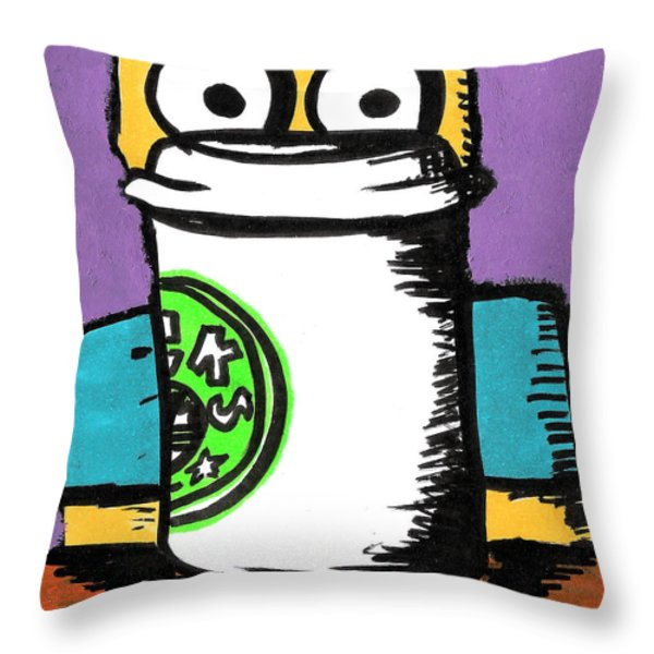 Bart Loves Coffee Throw Pillow by Jera Sky