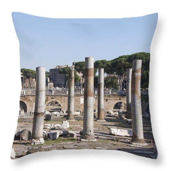Base Of Trajan's Column And The Basilica Ulpia. Rome Throw Pillow by Bernard Jaubert