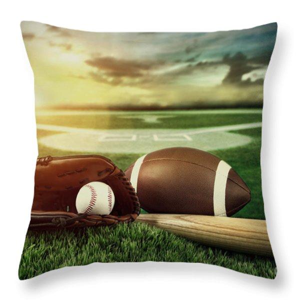 Baseball  Bat  And Mitt In Field At Sunset Throw Pillow by Sandra Cunningham