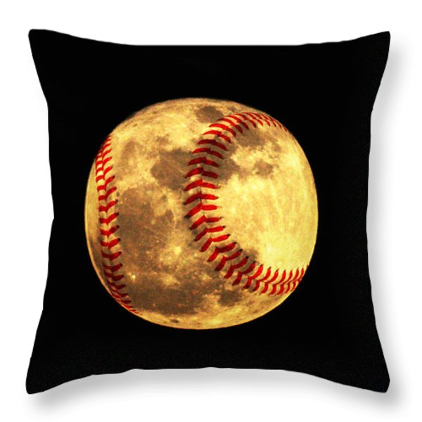 Baseball Moon Throw Pillow by Bill Cannon