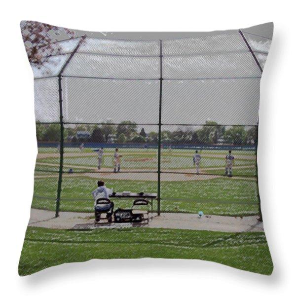 Baseball Warm Ups Digital Art Throw Pillow by Thomas Woolworth