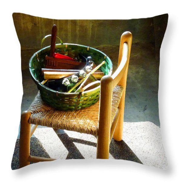 Basket Of Toy Instruments Throw Pillow by Susan Savad