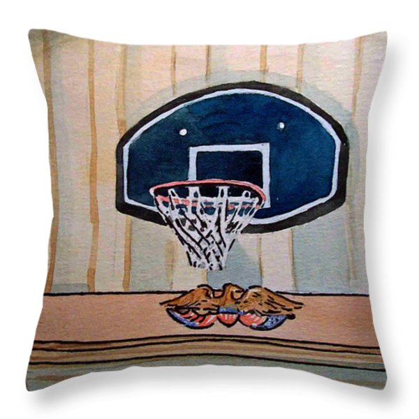 Basketball Hoop Sketchbook Project Down My Street Throw Pillow by Irina Sztukowski