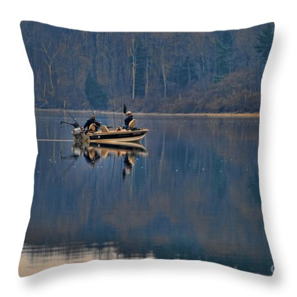 Bass Fishing Throw Pillow by Paul Ward