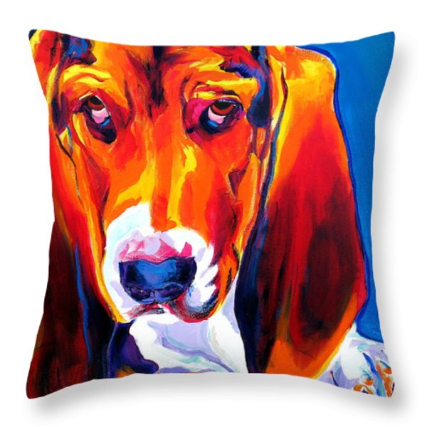 Basset - Ears Throw Pillow by Alicia VanNoy Call