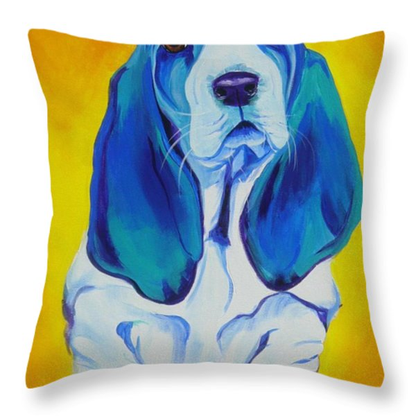 Basset - Ol' Blue Throw Pillow by Alicia VanNoy Call