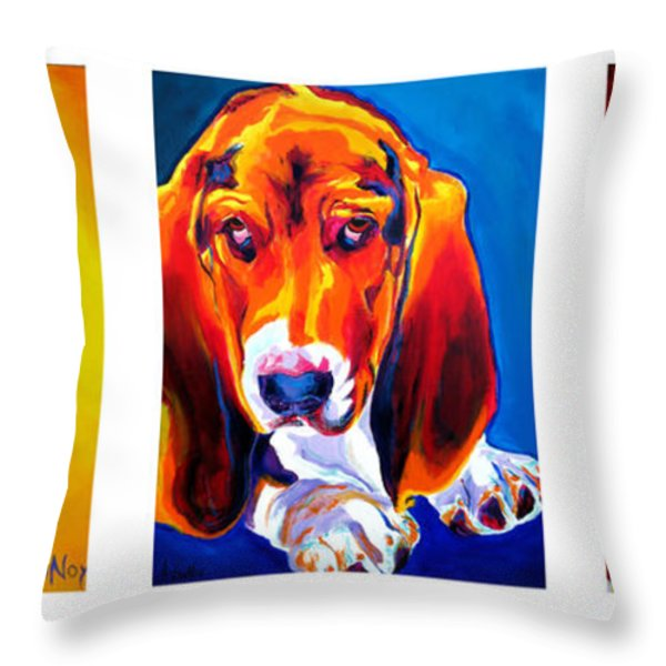 Basset Trio Throw Pillow by Alicia VanNoy Call