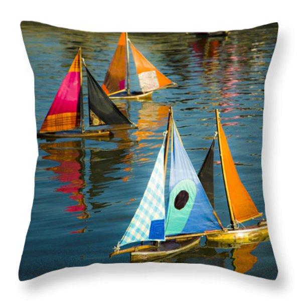Bateaux Jouets Throw Pillow by Bronze Riser