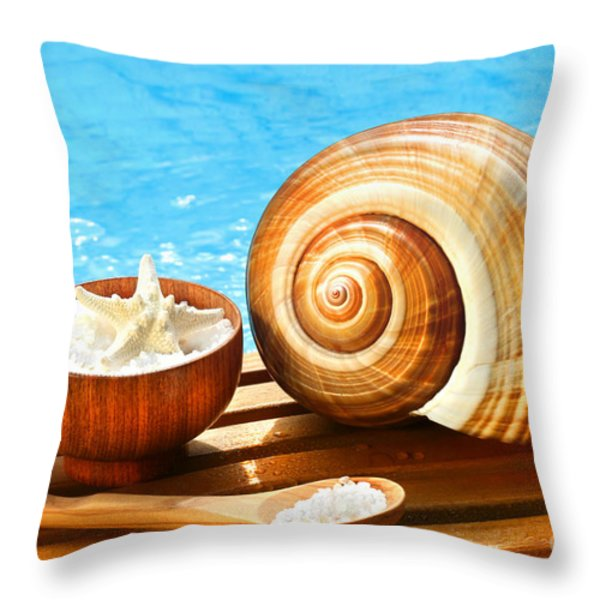 Bath Salts And Sea Shell By The Pool Throw Pillow by Sandra Cunningham