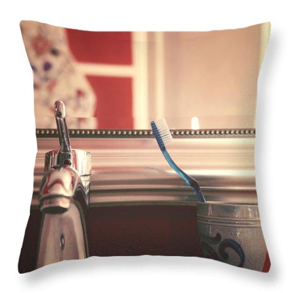 bathroom Throw Pillow by Joana Kruse