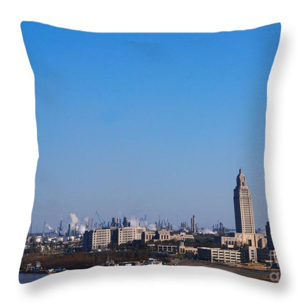 Baton Rouge Skyline Louisiana  Throw Pillow by Susanne Van Hulst
