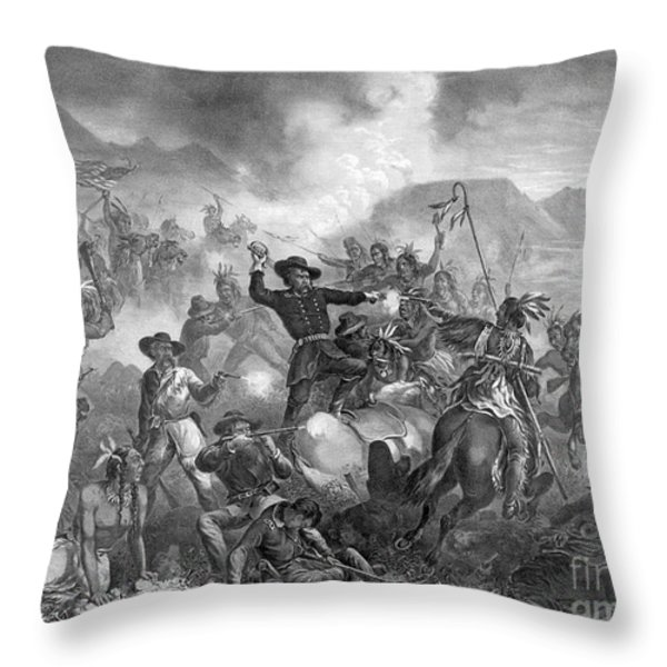 Battle On The Little Big Horn, 1876 Throw Pillow by Photo Researchers