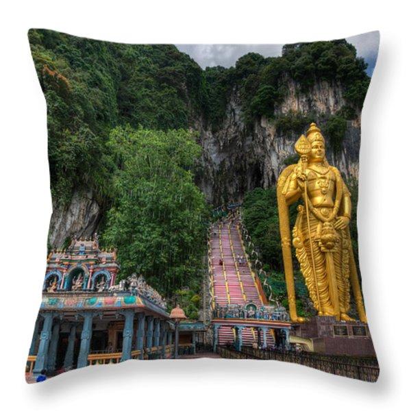 Batu Caves Throw Pillow by Adrian Evans